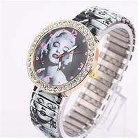 Cheap New Luxury Women Fashion Simple Marilyn Monroe Pattern Style Metal Spring Band Wrist Watch Free Shipping