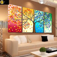 Wholesale 2016 DIY Four Season Cross Stitch Tree Wall Painting Arts Decoration Picture Home Living Room wedding Needlework Embroidery Gifts ZJ P01