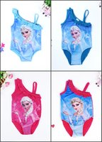 Wholesale 2016 Cartoon Princess Elsa New Baby Girls One Piece Bikini Swimsuit Girls Swimwear Children Bathing Suits one Piece Kids Swim Wear MC0033
