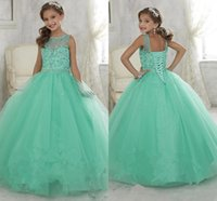 pageant gowns - 2016 Cute Mint Green Little Girls Pageant Dresses Tulle Sheer Crew Neck Beaded Crystals Corset Back Flower Girls Birthday Princess Dresses