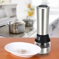 acrylic mills - 2 in Stainless Steel Portable Electric Salt Pepper Grinder Acrylic Muller Mill Kitchen Accessories Seasoning Grinding Tool DHL H16936