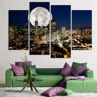 Мода HD Большой холст картины 4 панелей Home Decor Wall Art Picture Отпечатки NewYork города ночного видения произведения без рамки