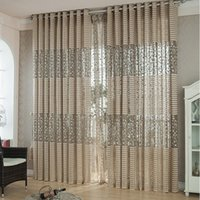 Wholesale Room Leaf Tulle Door Window Curtain Drape Panel Sheer Scarfs Valances Hot Voile Khaki Modern Style
