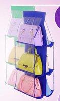 Wholesale 6 Pockets Hanging Storage Bag Purse Handbag Tote Bag Storage Organizer Closet Rack Hangers Color