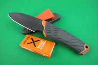 bear box camping - OEM GB BEAR survival straight knife Outdoor camping hiking tactical knife knivs with rubber sheath and retail paper box packing