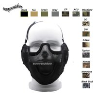 Wholesale Outdoor Airsoft Shooting Face Protection Gear V2 Metal Steel Wire Mesh Half Face Tactical Airsoft Mask with Ear Protention