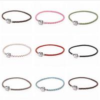 Wholesale NEW HOT Colors mm genuine leather silver Pandora Leather Bracelets Chains17cm cm cm cm cm Fit European Charm Beads DIY