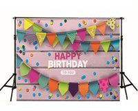 add wall - Happy Birthday Theme Photo Backdrop Wood Wall Colorful Banner Little photography backdrops Can Add Or Change Words