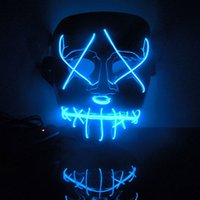 Wholesale New Year Flash El Wire Led Glowing Beauty Christmas Party Mask Full Face Mask Hot Sale LYM03