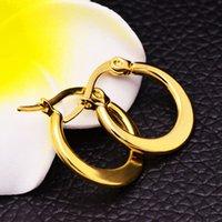 Wholesale OULIN Fashion Hoop Earrings K Gold Silver Plated Stainless Steel L Jewelry Wedding Party Earrings For Women XJEA19