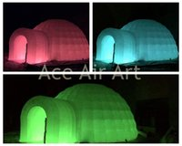 Wholesale outdoor shelter large inflatable lighting double dome inflatable igloo for event party shelter with remove cover