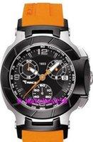 Las mujeres libres del envío T048 Señora de cuarzo reloj cronógrafo Dial Negro con Orange correa de silicona T048.217.27.057.00