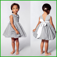 baby lemons - Toddler Kids Baby Girls Summer Flower Dress Princess Party Pageant Tutu Dresses factory killing price gray stripes sleeveless cool dresses