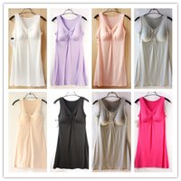 Wholesale Women V Neck Vest Nightdress With Padded Ladies Modal Camisole Sleepwear Solid Night Dresses Soft Nightgowns