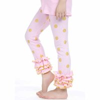 Wholesale Girls Skinny Trousers for Spring and Autumn Ruffled Girls Mid Waist Ruffle Pants Elastic Waist Style