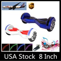 Wholesale Stock in USA quot LED Scooter Smart Hoverboard Bluetooth Music Speaker Two Wheels Electric Scooters Balance Wheel Skateboard Fast Shipping