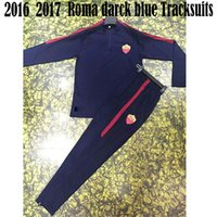 Wholesale 2016 New Arrived Roma Darck Blue football Soccer tracksuits Roma Home football survetement Men Training suits Soccer Rugby Set