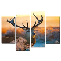 autumn oil paintings - Animal Paintings Wall Art a Elk Deer on the Autumn Morning Grass Panel Picture Print on Canvas for Modern Home Decoration