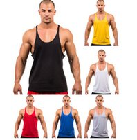 Wholesale Fitness Men Blank Stringer Cotton Tank Top Singlet Bodybuilding Sport Undershirt Clothes Gym Vest Muscle Singlet