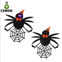 Wholesale Cloth door hang amp lhalloween decoration led lightings spider witch rabit pumpkin spider web shaped lights for holiday party children happy
