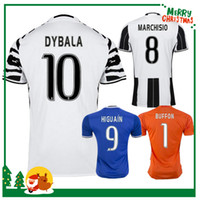 Wholesale 16 Juve HIGUAIN POGBA soccer jersey home away CUADRADO KHEDIRA ZAZA DYBALA MARCHISIO MANDZUKIC CHIELLINI shirts