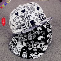 Wholesale Korean hat cute cartoon city graffiti hip hop Cap Baseball Cap men and women lovers summer peaked cap
