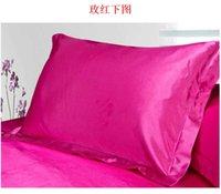 Wholesale 30Sets Hot Sale Set CM Luxury Queen King Bedding Standard Silk Satin Pillow Case Multiple Colors jy348