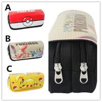 Wholesale 3styles Poke Pencil Case Bag pikachu pen bag pocket monster canvas High Capacity Pen pocket poke ball stationery bag for girl and boys gifts