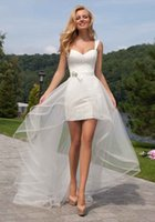 Wholesale Two Pieces Hi Low Short Beach Wedding Dress with Detachable Skirt with Lace Short Front Long Back Wedding Dress Lace up Back