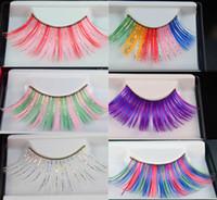 artistic false eyelashes - Colored Exaggeration Artistic Fashion Nightclub Makeup False Eyelashes Party Makeup Eye lashes