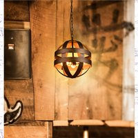 atom pendant - Vintage Atom Cyclopean Wine Barrel Pendant Lights chandeliers Industrial Iron Round Nordic art pendant Lamps bar restaurant Light Fixtures