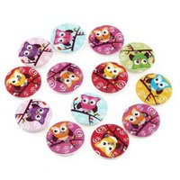 Wholesale TM MM CM Owl Design Holes Wooden Button Sewing Wood Buttons Craft Scrapbooking Clothing Accessories for Kids Children