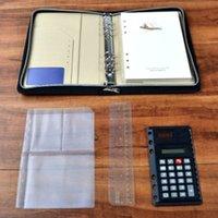 Gros-A5 Padfolio avec calculatrice PU portefeuille Porte-documents de conférence en cuir Zipper style avec accessoires de bureau Poches
