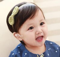 artificial leather cloth - 2016 New Free postage Korean children hair bow with gold dust cloth hand with foreign trade selling baby hair accessories