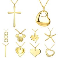 real gold jewelry - 2016 New Fashion Jewelry K Real Gold Plated Pendant Necklaces For Women Charms Multiple Styles Heart Necklaces Pendants