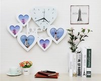 Wholesale LOVE heart shaped photo frame wall clock mute creative watches the clock hanging table minimalist modern living room bedroom marriage room d