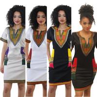 al por mayor de manga corta cuello en v-XXXL Nuevas mujeres de moda africana Bohemia sexy tradicional africana Imprimir Dashiki Bodycon vestido de cuello en V manga corta Tribu Kaftan 666