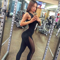 Wholesale One piece women yoga set siamese trousers black color sleeveless backless mesh legging sexy female fitness gym sports jumpsuit