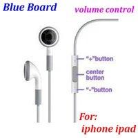 Wholesale 2000pcs good quality Blue Board Earphone Volume Remote Control W Mic headphones headset FOR IPHONE ipad