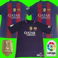 Wholesale Player version Thailand quality Barcelona jersey patch soccer Shirts SUAREZ MESSI NEYMAR JR football jersey