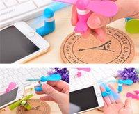 achat en gros de portable à portée de main-DHL gratuit pour iPhone Samsung Android Mobile 5Pin mini USB Dock ventilateur portable avec paquet Super Mute Cooler Rotary Handy Fan Grand