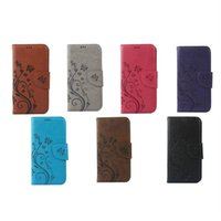 wiko cell phones - Flower Printed Stand Card Wallet Strap Hand PU Case Cell Phone Cover Pouch For Wiko Sunset2