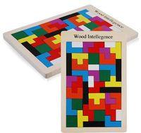 Wholesale 2016 New Wood Intellegence Building Blacks Wooden Tangram Brain Tetris Game Puzzle Preschool Children Play Wood Toy Training Educational Toy