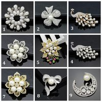 animal shapes peacock - Hot Fashion Elegant Brooch Peacock Pearl Wedding Christmas Brooch Fashion Jewelry Women s Bra Pin Animal Brooches Gift Flower Shape