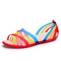Wholesale Candy Canvas Shoes Women - Fashion Gladiator Women's Sandals Shoes Women Slides 2016 Summer Shoes Candy Color Flats Woman Jelly Shoes