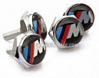 Wholesale Freeshipping New Metal M EMBLEM Logo LICENSE PLATE FRAME Caps BOLTS Screws screw frame pump