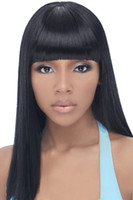 Wholesale 2016 New Human Hair Wigs A Glueless Full Lace Wigs With Bangs Straight Hair Wigs Natural Color