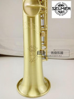 Wholesale DHL high quality selmer54 B flat Soprano Saxophone wind drawing carving