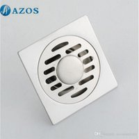 Wholesale AZOS Brass Chrome Toilet Floor Drain Strainer Grates Waste Bathroom Shower Part Ground Overflow Fitting PJDL002