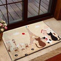 beige bath rug - French Paris Eiffel Tower Cats Floor Mat Rug Door Bath Mat Soft Absorbent Pink Beige x CM